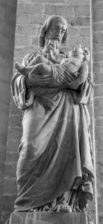 the church of our lady: MECHELEN, BELGIUM - JUNE 14, 2014: The statue of st. Jodeph in church Our Lady across de Dyle.
