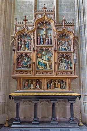 the church of our lady: MECHELEN, BELGIUM - JUNE 14, 2014: Nev gothic side altar of church Our Lady across de Dyle.