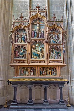 bible altar: MECHELEN, BELGIUM - JUNE 14, 2014: Nev gothic side altar of church Our Lady across de Dyle.