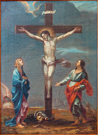 santa cross: PADUA, ITALY - SEPTEMBER 9, 2014: The paint of Crucifixion scene  in the church Cathedral of Santa Maria Assunta (Duomo) from 18. cent.by unknown painter  as part of Way of the Cross. Editorial