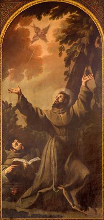 st  francis: PADUA, ITALY - SEPTEMBER 8, 2014: The paint of Stigmatization of st. Francis of Assisi by Luca Ferrari da Reggio (1605 - 1654) in church San Francesco del Grande.