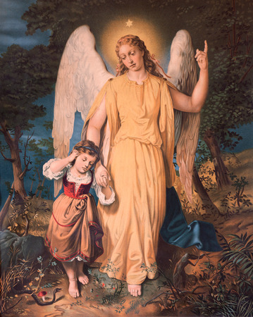 MARIANKA, SLOVAKIA - DECEMBER 4, 2012: Guardian angel with the child. Typical catholic print image from the beginning of the 20th. century in parish building of Marianka originaly by unknown painter. Stock Photo - 33858629