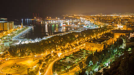 nightly: Malaga - nightly otutlook over the town and harbor.