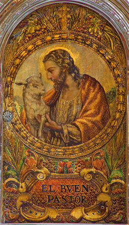 good shepherd: SEVILLE, SPAIN - OCTOBER 28, 2014: The Jesus Christ as Good Shepherd. Paint on the tabernacle in church Iglesia de San Roque from 19. cent. Editorial
