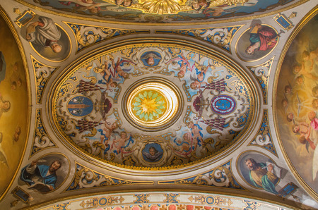 SEVILLE, SPAIN - OCTOBER 28, 2014: The beo - baroque cupola in the presbytery of church Capilla Santa Maria de los Angeles by Rafael Rodriguez Hernandez from 20 cent.