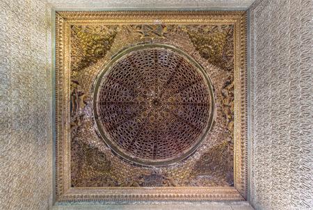 mudejar: SEVILLE, SPAIN - OCTOBER 28, 2014: The cupola in mudejar style in Casa de Pilatos.