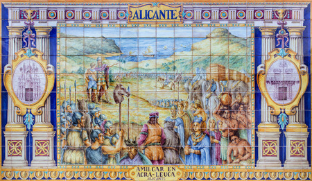 domingo: SEVILLE, SPAIN - OCTOBER 28, 2014: The Alicante as one of The tiled Province Alcoves along the walls of the Plaza de Espana (1920s) by Domingo Prida.