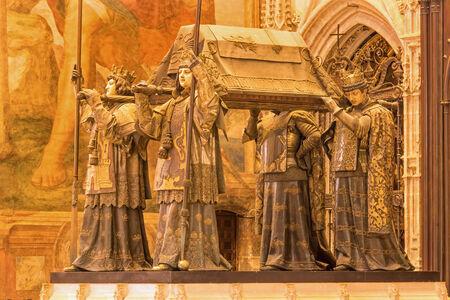 christopher: SEVILLE, SPAIN - OCTOBER 29, 2014: The tomb of Christopher Columbus by Arturo Melida y Alinari (1891) in the Cathedral de Santa Maria de la Sede.