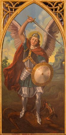 neo gothic: SEVILLE, SPAIN - OCTOBER 28, 2014: The paint of archangel Michael from neo gothic side altar in church Iglesia de San Pedro by painter R. Blapr.