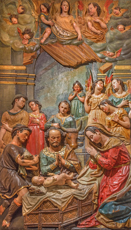 polychrome: SEVILLE, SPAIN - OCTOBER 28, 2014: The baroque polychrome relief of the Adoration of shepherds in Church of El Salvador (Iglesia del Salvador) by by Juan de Oviedo (1609 - 16012).