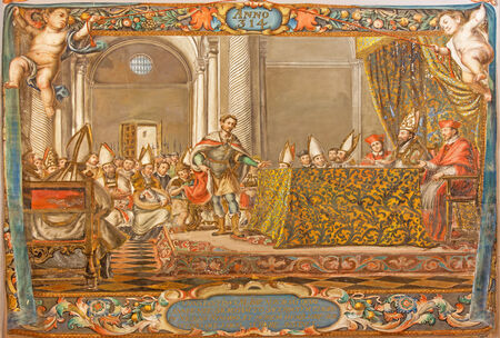 SEVILLE, SPAIN - OCTOBER 28, 2014: The fresco of scene as Emperor Constantine speak on the council in Nicaea (325) in church Hospital de los Venerables Sacerdotes by Juan de Valdes Leal (1622 - 1690)
