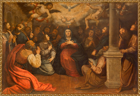 SEVILLE, SPAIN - OCTOBER 28, 2014: The paint of Pentecost in church Iglesia de San Roque (Roch) by unknown painter. Redactioneel