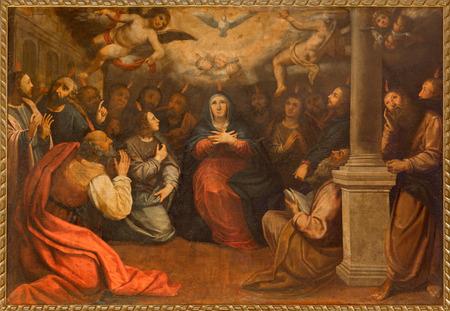 Siviglia, Spagna - 28 ottobre 2014: La vernice di Pentecoste nella chiesa di Iglesia de San Roque (Rocco) di autore ignoto. Archivio Fotografico - 33858533