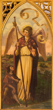 neo gothic: SEVILLE, SPAIN - OCTOBER 28, 2014: The paint of archangel Raphael from neo gothic side altar in church Iglesia de San Pedro by painter R. Blapr.