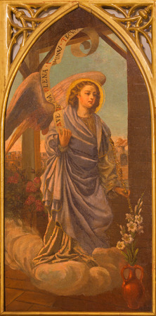 SEVILLE, SPAIN - OCTOBER 28, 2014: The paint of archangel Gabriel from neo gothic side altar in church Iglesia de San Pedro by painter R. Blapr.