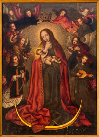 saint mary: SEVILLE, SPAIN - OCTOBER 29, 2014: The paint of Madonna in church Iglesia de la Anunciacion by  Francisco Pacheco (1564 - 1644) in renaissance style.