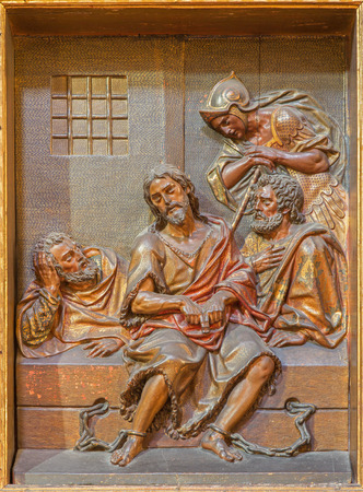 baptist: SEVILLE, SPAIN - OCTOBER 29, 2014: The carved polychrome relief of St. John the Baptist in prison from church Iglesia de la Anunciacion by Martinez Montanes from 18. cent.