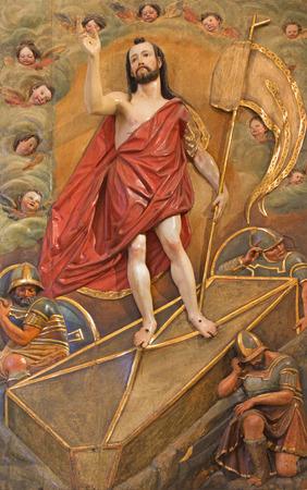 polychrome: SEVILLE, SPAIN - OCTOBER 28, 2014: The baroque polychrome relief of reuerrected Christ in Church of El Salvador (Iglesia del Salvador) by Juan de Oviedo (1609 - 1612). Editorial