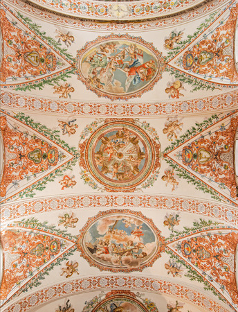 SEVILLE, SPAIN - OCTOBER 28, 2014: The fresco on the ceiling in church Hospital de los Venerables Sacerdotes by Juan de Valdes Leal (1622 - 1690). Editorial