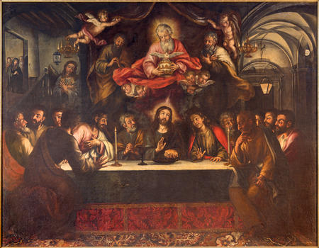 SEVILLE, SPAIN - OCTOBER 28, 2014: The paint of Last supper on the main altar by Lucas Valdes (166 - 16725) in baroque church Hospital de los Venerables Sacerdotes. Editöryel