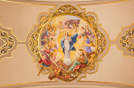 saint mary: SEVILLE, SPAIN - OCTOBER 29, 2014: The fresco Virgin Mary as Immaculate conception on the ceiling in church Basilica de la Macarena by Rafael Rodrguez (1949) in neobaroque style. Editorial