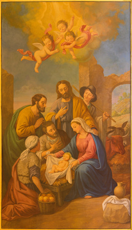 SEVILLE, SPAIN - OCTOBER 29, 2014: The fresco of Nativity in church Basilica de la Macarena by Rafael Rodrguez (1984) in neobaroque style. Imagens - 33858609