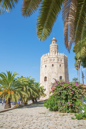 torre: Seville - The medieval tower Torre del Oro Stock Photo