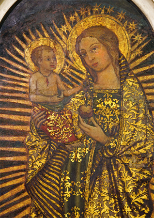 child jesus: SEVILLE, SPAIN - OCTOBER 29, 2014: The paint of Madonna from 16. cent in church Iglesia San Idefonso by unknown painter.
