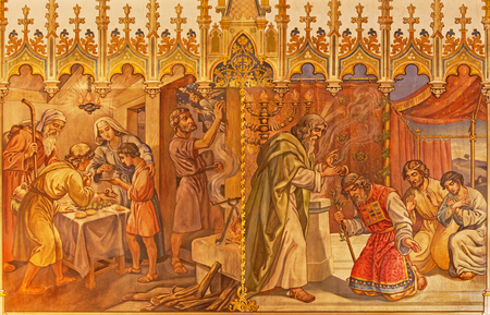 firstborn: TRNAVA, SLOVAKIA - OCTOBER 14, 2014: The fresco of the scenes Moses and Aron, and Israelites at the Pesach supper at the Lords Passover by Leopold Bruckner (1905 - 1906) in St. Nicholas church. Editorial