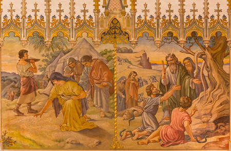 firstborn: TRNAVA, SLOVAKIA - OCTOBER 14, 2014: The neo-gothic fresco of scene as Israelites at gathering of manna, and as Moses made a bronze snake by Leopold Bruckner (1905 - 1906) in Saint Nicholas church. Editorial