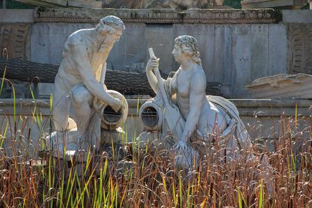 statuary garden: VIENNA, AUSTRIA - OCTOBER 19:  Ruins in gardens of Schonbrunn palace. Building was designed by the architect Johann Ferdinand Hetzendorf von Hohenberg.
