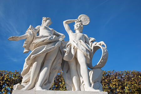 statuary garden: Vienna - The sculpture in the gardens of Belvedere palace with the scene from mythology.
