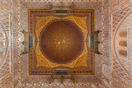 ambassadors: SEVILLE, SPAIN - OCTOBER 28, 2014: The cupola of Hall of Ambassadors in Alcazar of Seville.