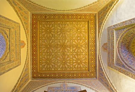 mudejar: SEVILLE, SPAIN - OCTOBER 28, 2014: The mudejar ceiling in Alcazar of Seville.