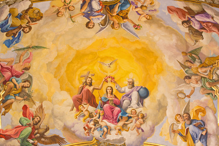 SEVILLE, SPAIN - OCTOBER 29, 2014: The fresco of Coronation of Virgin Mary on the ceiling of presbytery of church Basilica de la Macarena by  Rafael Rodrguez (1949) in neobaroque style.