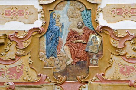 holy mary: Prague - apparation of holy Mary - relief from baroque town house Editorial