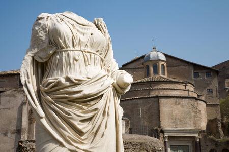 atrium: ROME - MARCH 23: Ancient torso of statue from Atrium Vestae in Forum Romanum on March 23, 2012 in Rome.