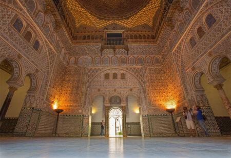 ambassadors: SEVILLE, SPAIN - OCTOBER 28, 2014: The Hall of Ambassadors in Alcazar of Seville.