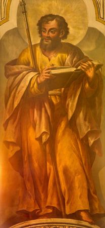 apostle: SEVILLE, SPAIN - OCTOBER 29, 2014: The fresco of St. Thomas the apostle by Lucas Valdes (1661 - 1725) in the church Iglesia de Santa Maria Magdalena.
