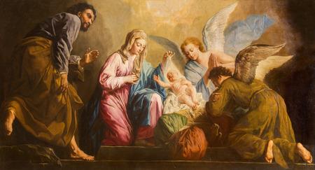bible christmas: VIENNA, AUSTRIA - DECEMBER 17, 2014: The Nativity paint in presbytery of Salesianerkirche church by Giovanni Antonio Pellegrini (1725-1727).