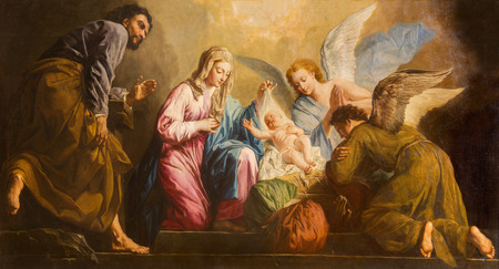 VIENNA, AUSTRIA - DECEMBER 17, 2014: The Nativity paint in presbytery of Salesianerkirche church by Giovanni Antonio Pellegrini (1725-1727).