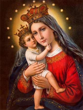 SEBECHLEBY, SLOVAKIA - JANUARY 2, 2015:  Typical catholic image of Madonna with the child printed in Germany from the end of 19. cent. originally by unknown painter. 에디토리얼