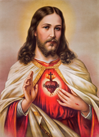Jezus: Sebechleby, Słowacja - 06 stycznia 2015: Typowy katolik Obraz serca Jezusa Chrystusa ze Słowacji drukowane w Niemczech od pocz? Tku 20. procent. pierwotnie przez nieznanego artystę. Publikacyjne