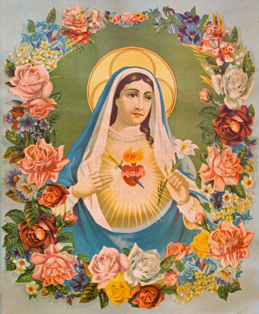 SEBECHLEBY, SLOVAKIA - JANUARY 6, 2015: The Heart of Virgin Mary in the flowers. Typical catholic image printed in Germany from the end of 19. cent. originally by unknown painter. Editorial