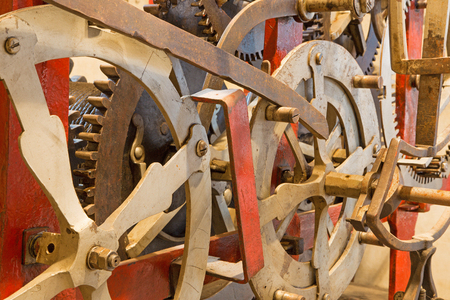 11 year old: BRATISLAVA, SLOVAKIA - OCTOBER 11, 2014: The detail of old clock-work from tower-clock on the St. Martins cathedral at work. Anyone parts of the machine are from year 1766 by master Jacob Halth. Editorial
