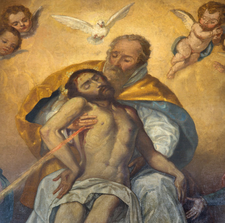SEVILLE, SPAIN - OCTOBER 28, 2014: The detail of Holy Trinity from paint Souls  in church Iglesia de San Roque by unknown baroque painter. Editorial