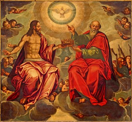 세비야, 스페인 - 2014년 10월 29일 : 르네상스 스타일의 마르셀로 Coffermans (1560)에 의해 교회 제니 드 라 Anunciacion의 삼위 일체 페인트. 에디토리얼