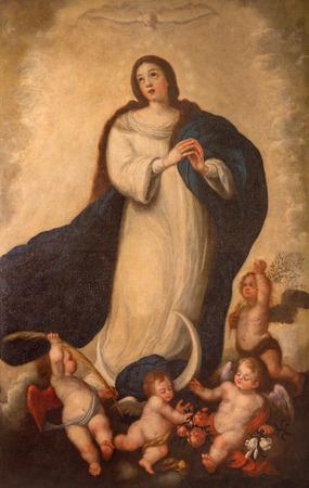 vierge marie: Séville, Espagne - 28 octobre 2014: La peinture Immaculée Conception par le peintre inconnu de l'école à Séville forme 18. cent. dans l'église baroque de El Salvador (Iglesia del Salvador).