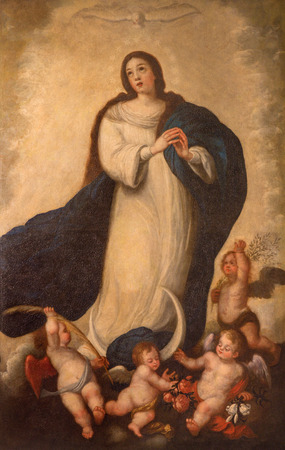 SEVILLE, SPAIN - OCTOBER 28, 2014: The Immaculate conception paint by unknown painter of school in Seville form 18. cent. in baroque Church of El Salvador (Iglesia del Salvador). Stok Fotoğraf - 35493604