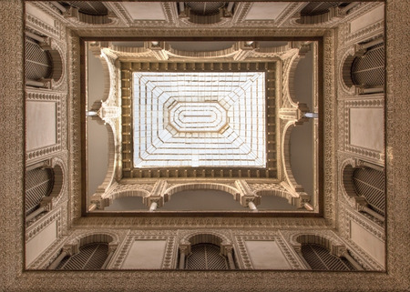 atrium: SEVILLE, SPAIN - OCTOBER 28, 2014: The atrium in Alcazar of Seville.